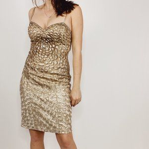 Sue Wong Nocturne Gold Embroidered Sequin Dress